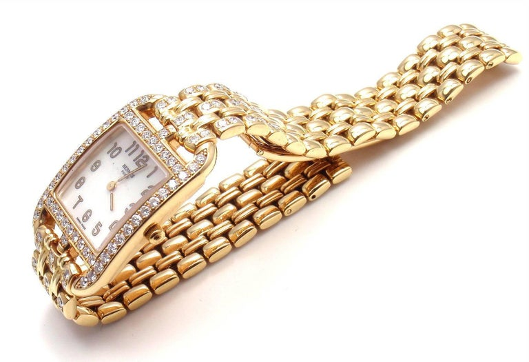 Hermes Ladies Yellow Gold Diamond Cape Cod Quartz Wristwatch 8