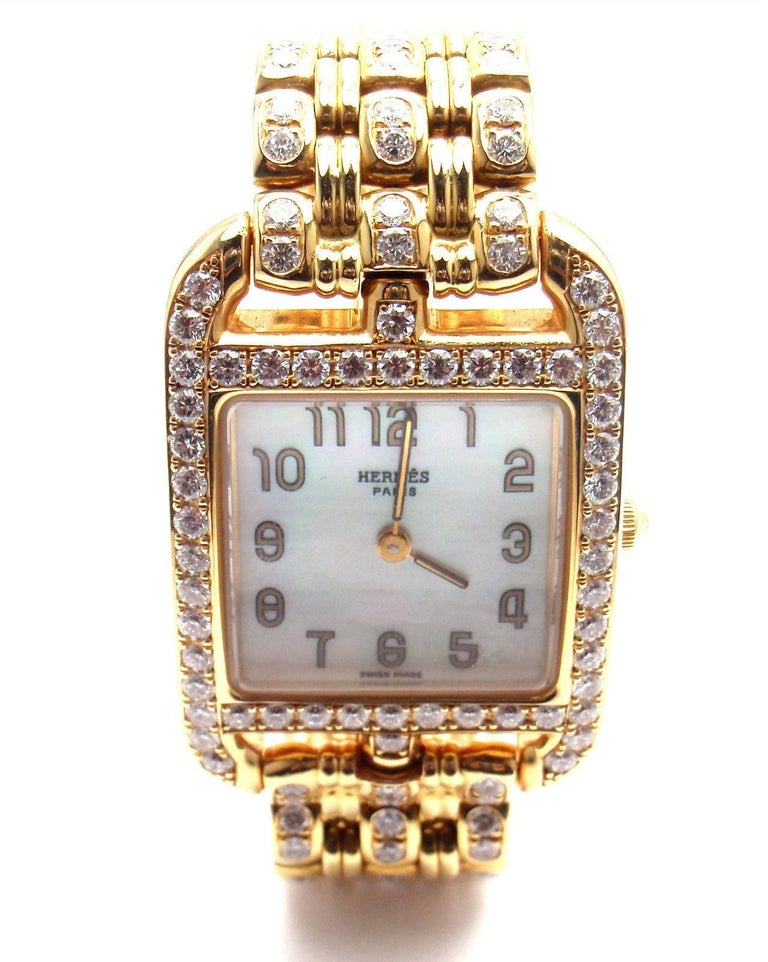Hermes Ladies Yellow Gold Diamond Cape Cod Quartz Wristwatch 2