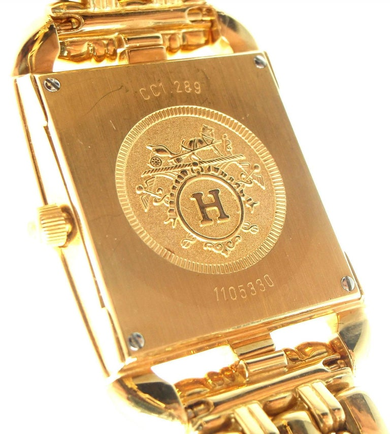 Hermes Ladies Yellow Gold Diamond Cape Cod Quartz Wristwatch 6