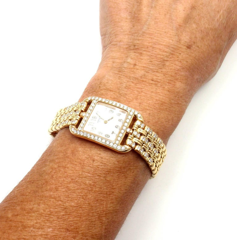 Hermes Ladies Yellow Gold Diamond Cape Cod Quartz Wristwatch 10