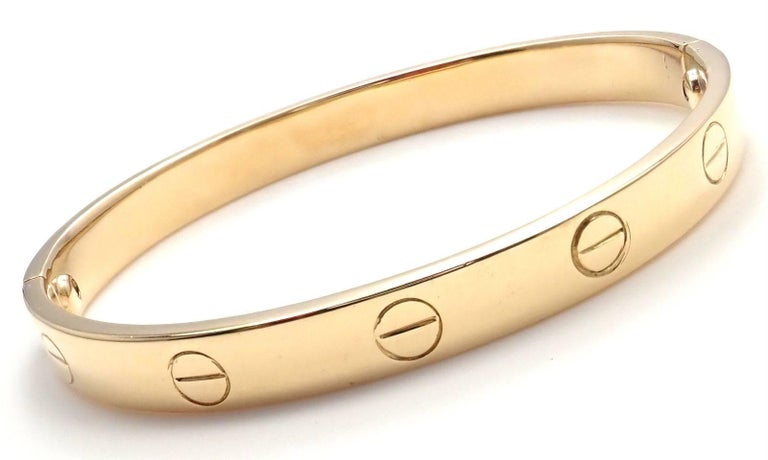 Women's or Men's Cartier Vintage Original Aldo Cipullo Yellow Gold Love Bracelet For Sale