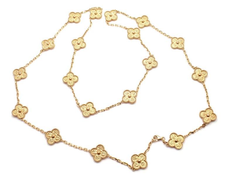 Van Cleef & Arpels Vintage Alhambra Gold 20 Motif Necklace 4