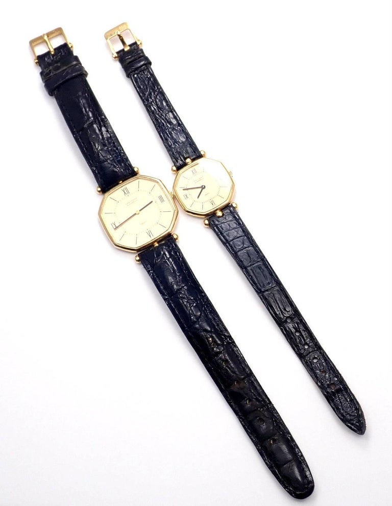 Women's or Men's Van Cleef & Arpels Jaeger Lecoultre His And Hers  Set  Gold Wristwatches For Sale