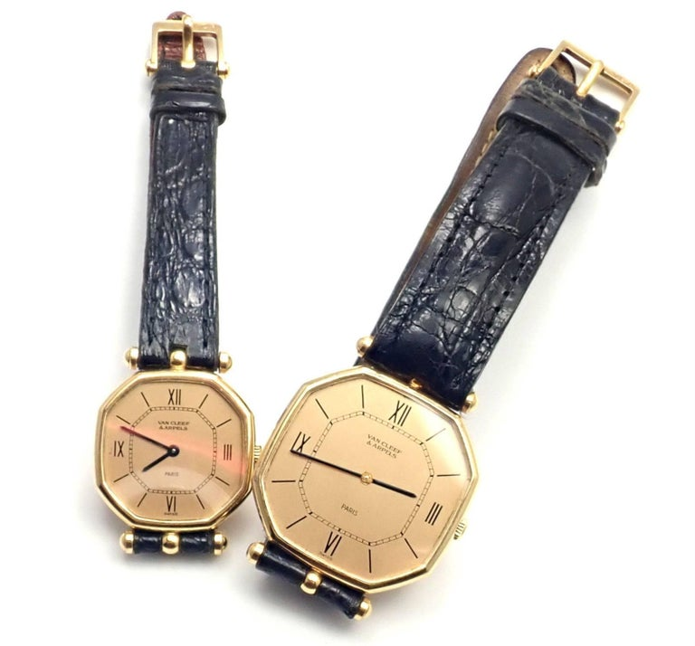 Van Cleef & Arpels Jaeger Lecoultre His And Hers  Set  Gold Wristwatches In As new Condition For Sale In Southampton, PA