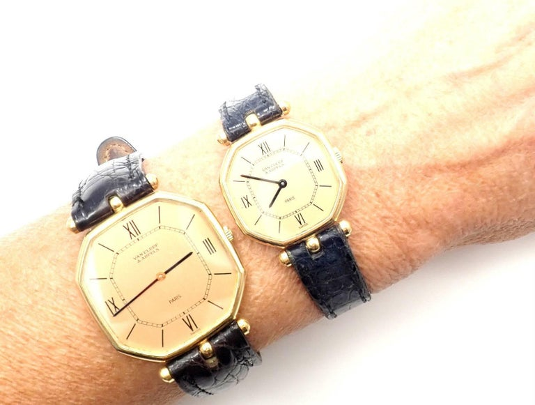 Van Cleef & Arpels Jaeger Lecoultre His And Hers  Set  Gold Wristwatches For Sale 4