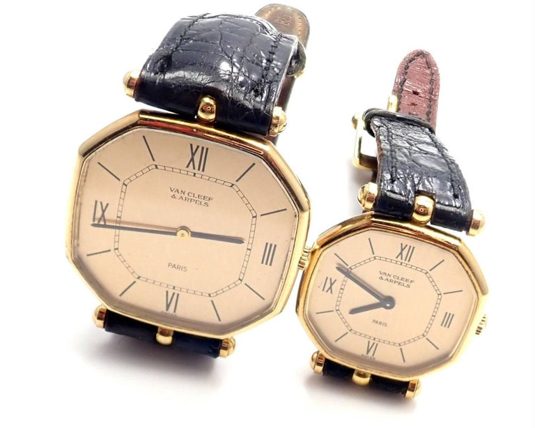Very rare 18k yellow gold Jaeger LeCoultre set of two thin manual-wind watches by Van Cleef & Arpels.  Details:  Movement Type: Both Watches has Mechanical Manual Wind Movements Bracelet Strap: Both bands are black leather with 18k yellow gold