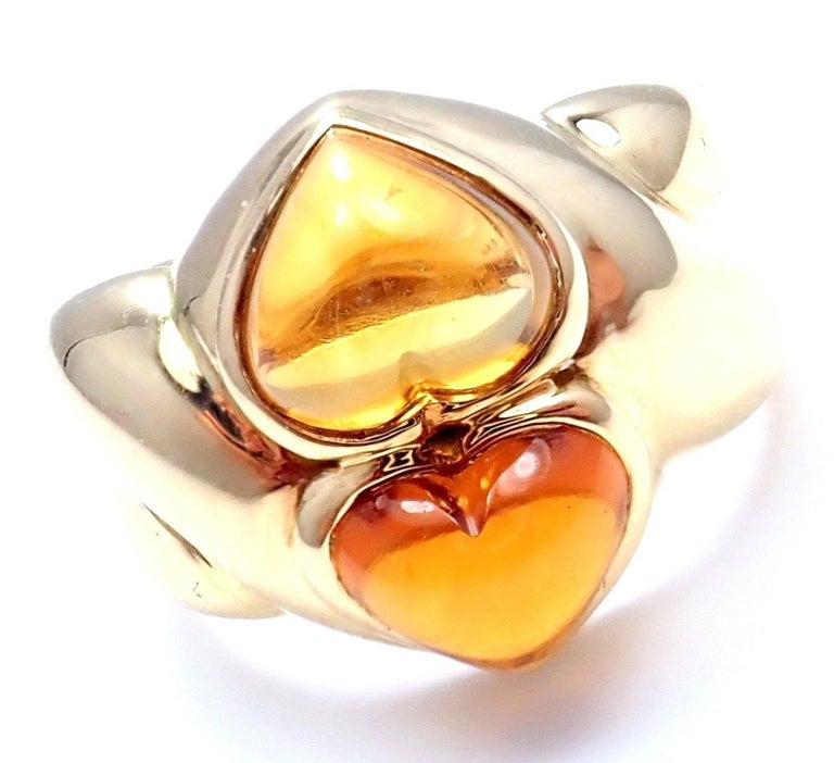 Bulgari Citrine Yellow Gold Ring For Sale 2
