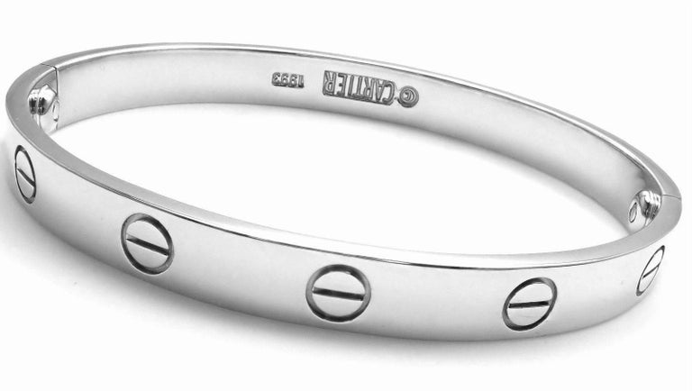 Women's or Men's Cartier Love White Gold Bangle Bracelet For Sale