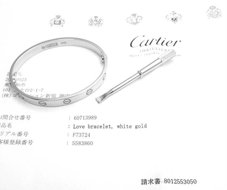 Cartier Love White Gold Bangle Bracelet For Sale 5