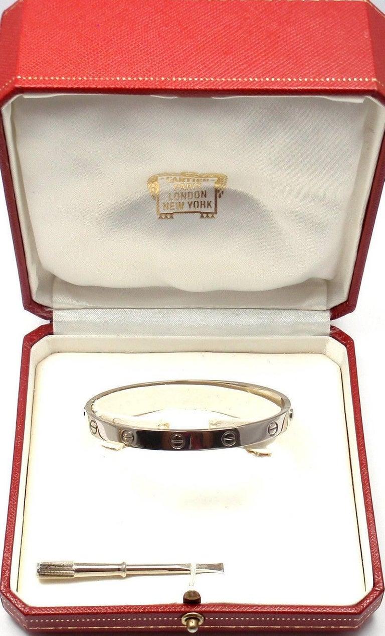 Cartier Love White Gold Bangle Bracelet For Sale 6