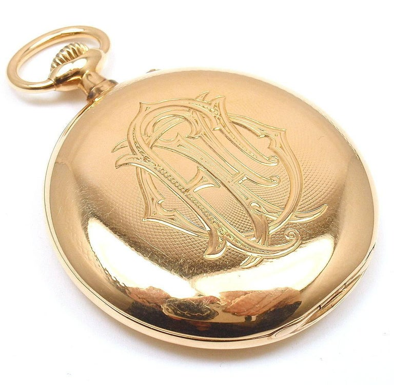 Henry Capt Yellow Gold Chronoautomatic Full Hunter Pocket Watch In New Condition For Sale In Southampton, PA