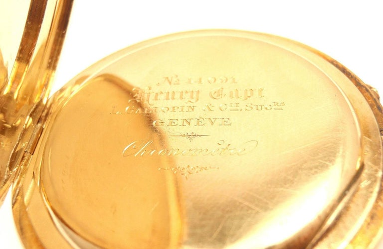 Henry Capt Yellow Gold Chronoautomatic Full Hunter Pocket Watch For Sale 3