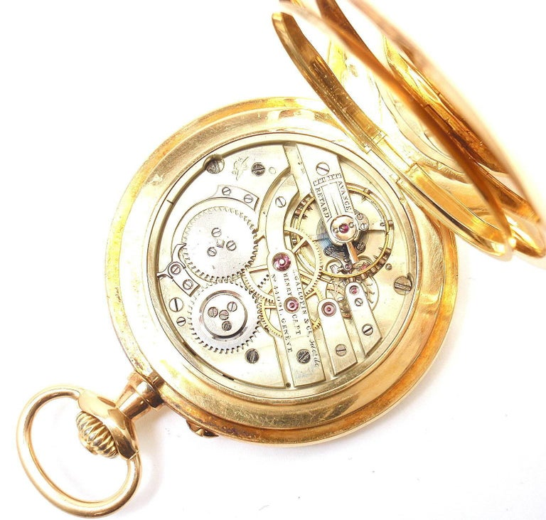 Women's or Men's Henry Capt Yellow Gold Chronoautomatic Full Hunter Pocket Watch For Sale