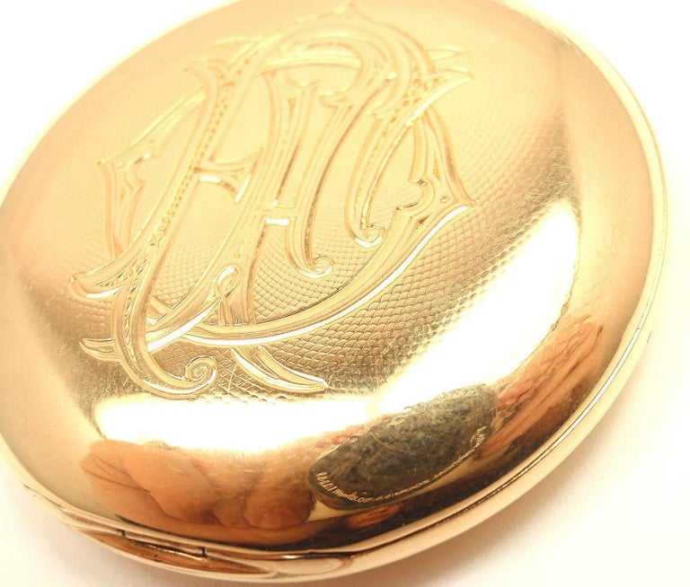 Henry Capt Yellow Gold Chronoautomatic Full Hunter Pocket Watch For Sale 4