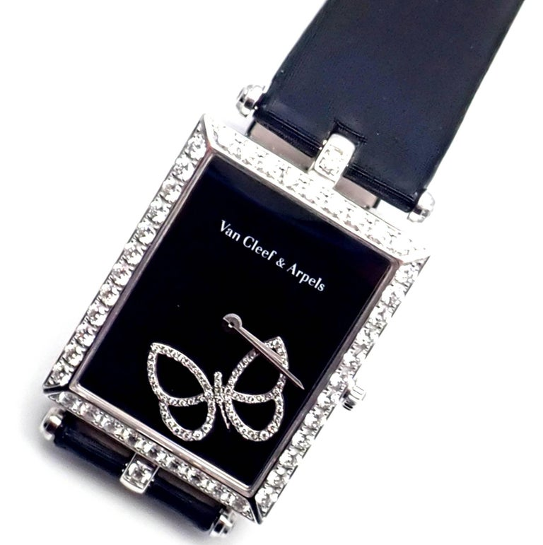 Van Cleef & Arpels Ladies White Gold Diamond Papillon Quartz Wristwatch For Sale 10