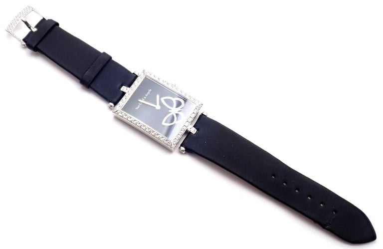 Women's or Men's Van Cleef & Arpels Ladies White Gold Diamond Papillon Quartz Wristwatch For Sale