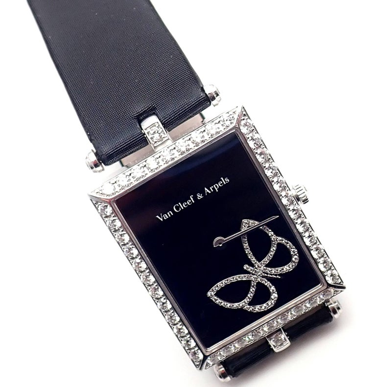 Van Cleef & Arpels Ladies White Gold Diamond Papillon Quartz Wristwatch In As New Condition For Sale In Southampton, PA