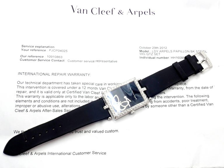 Van Cleef & Arpels Ladies White Gold Diamond Papillon Quartz Wristwatch For Sale 6