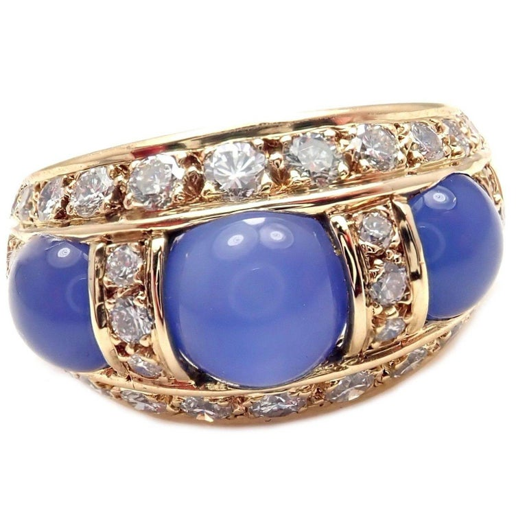 Piaget Diamond Chalcedony Yellow Gold Band Ring For Sale 3
