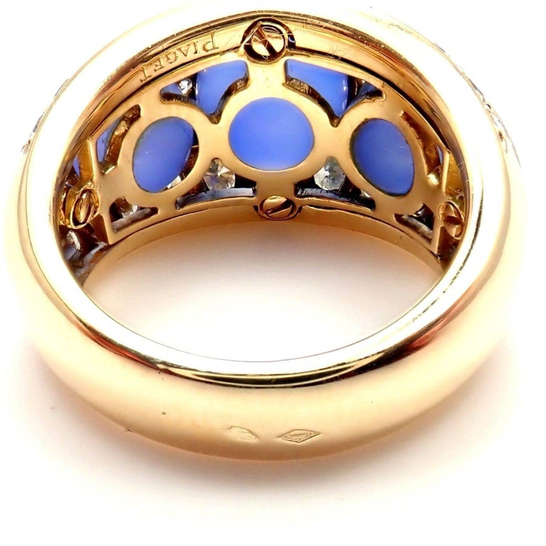 Women's or Men's Piaget Diamond Chalcedony Yellow Gold Band Ring For Sale
