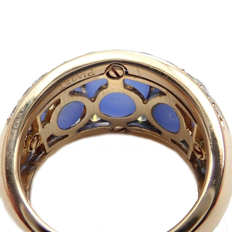 Piaget Diamond Chalcedony Yellow Gold Band Ring For Sale 1