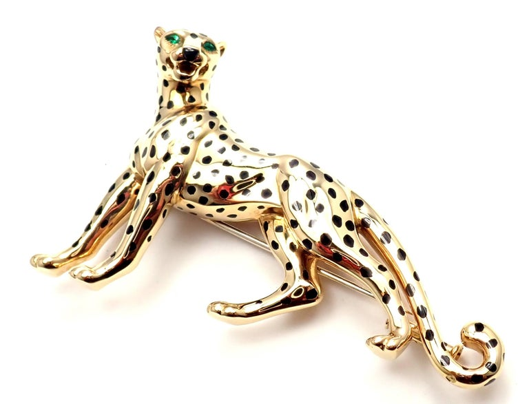 Cartier Panther Panthere Onyx Emerald Yellow Gold Large Pin Brooch For Sale 4
