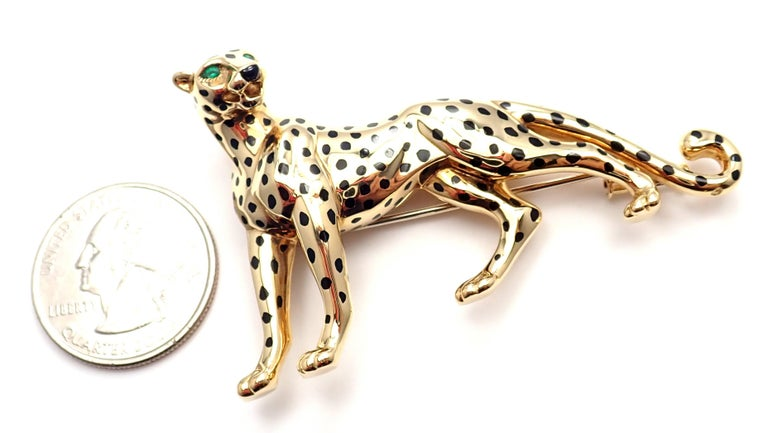 Cartier Panther Panthere Onyx Emerald Yellow Gold Large Pin Brooch For Sale 6