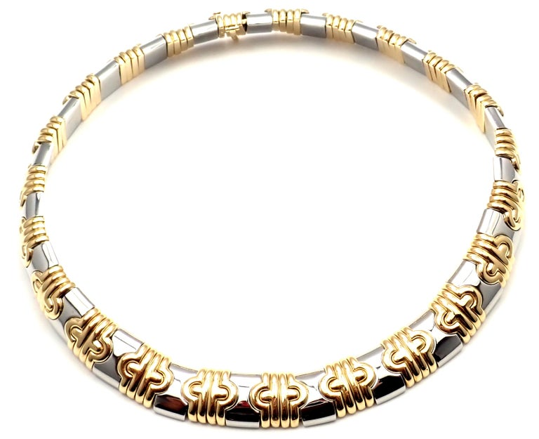 Bulgari Parentesi Wide Yellow Gold and Stainless Steel Necklace In New Condition For Sale In Southampton, PA