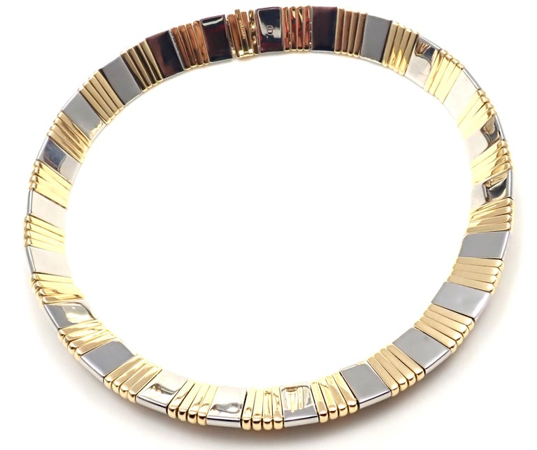 Bulgari Parentesi Wide Yellow Gold and Stainless Steel Necklace For Sale 1