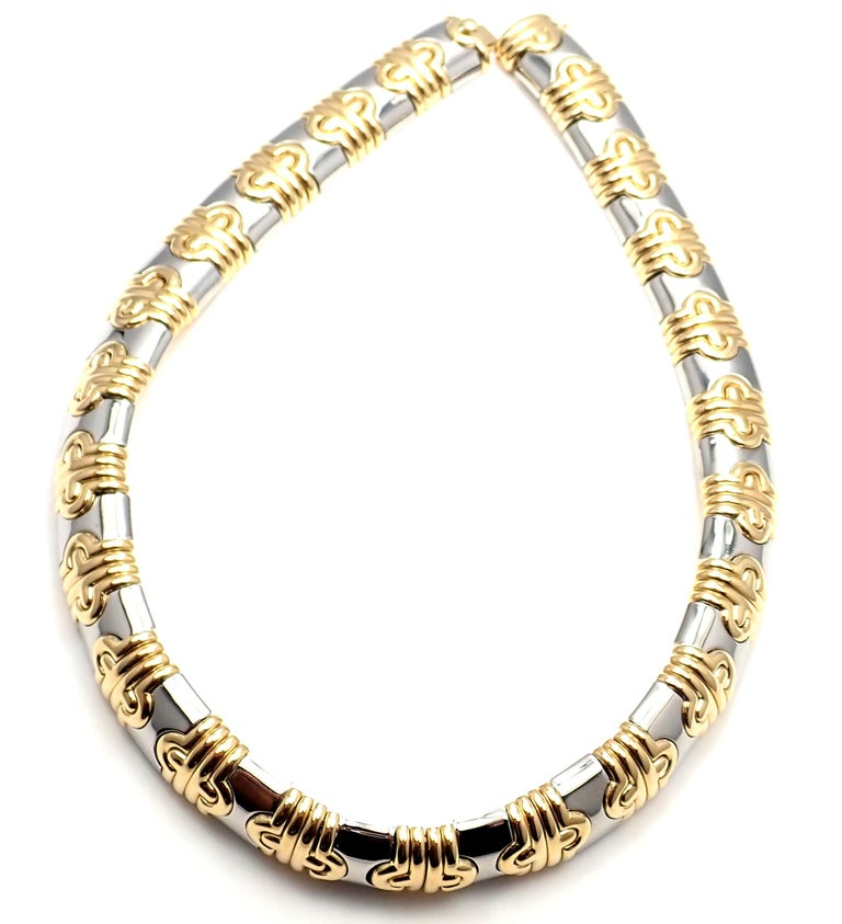 Bulgari Parentesi Wide Yellow Gold and Stainless Steel Necklace For Sale 3