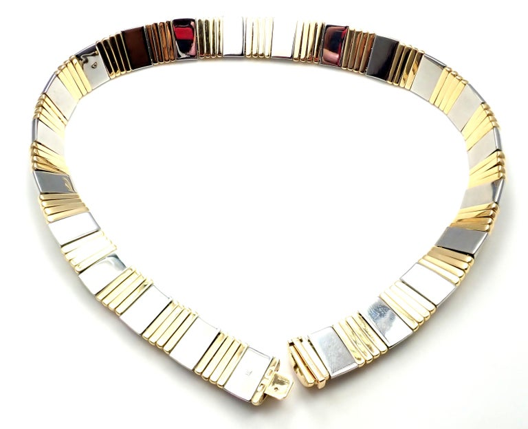Bulgari Parentesi Wide Yellow Gold and Stainless Steel Necklace For Sale 4