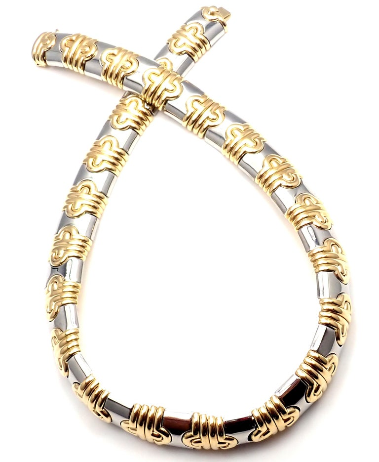 Bulgari Parentesi Wide Yellow Gold and Stainless Steel Necklace For Sale 6