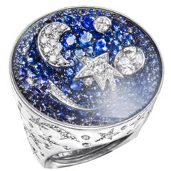 Chanel Comete Diamond Sapphire White Gold Large Ring