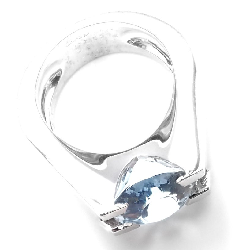 Cartier Large Aquamarine Diamond White Gold Ring For Sale 4