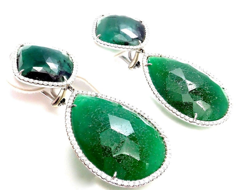 Jackie Collins Estate Large Green Quartz Diamond White Gold Earrings In New Condition For