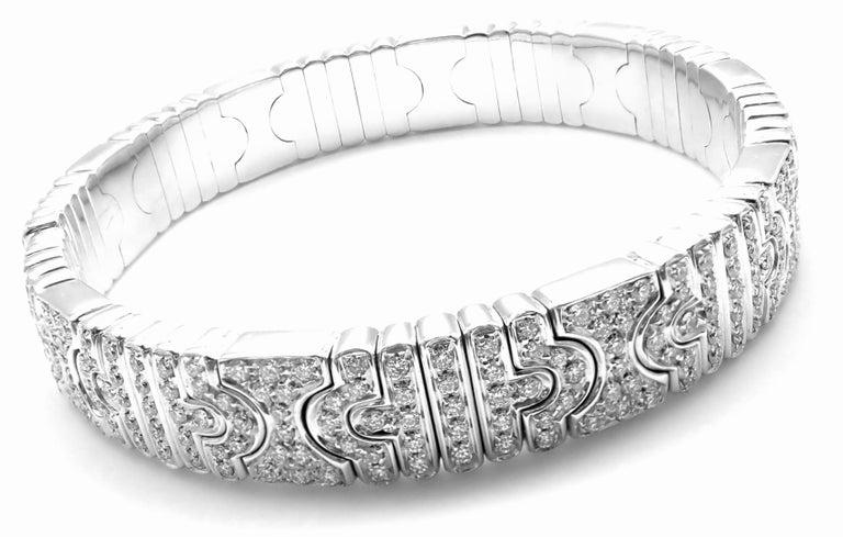 Bulgari Parentesi Pave Diamond White Gold Bangle Bracelet In New Condition For Sale In Southampton, PA