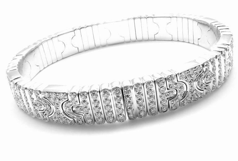 Women's or Men's Bulgari Parentesi Pave Diamond White Gold Bangle Bracelet For Sale