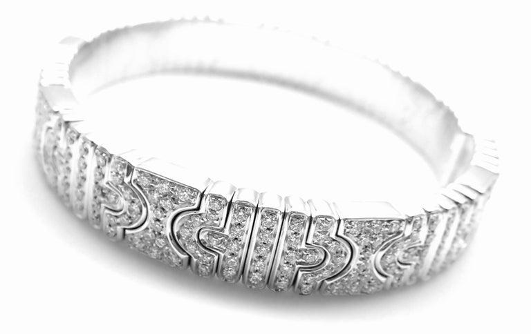 Bulgari Parentesi Pave Diamond White Gold Bangle Bracelet For Sale 1