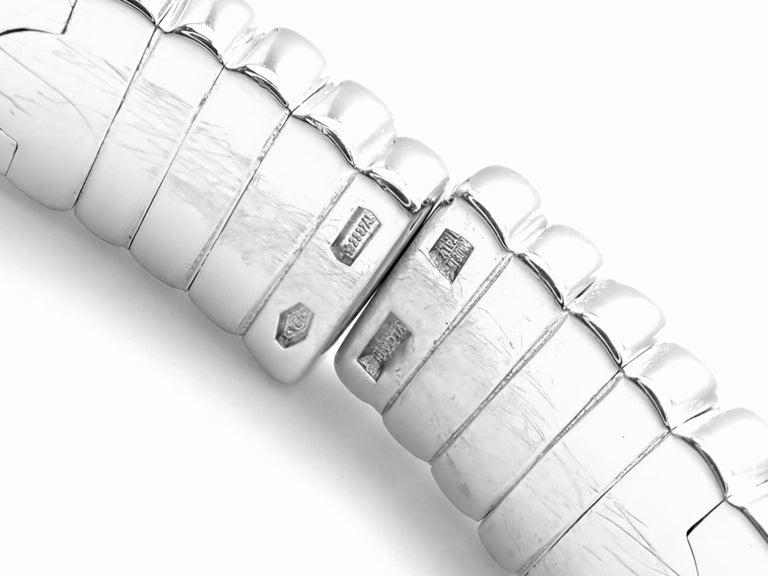 Bulgari Parentesi Pave Diamond White Gold Bangle Bracelet For Sale 4