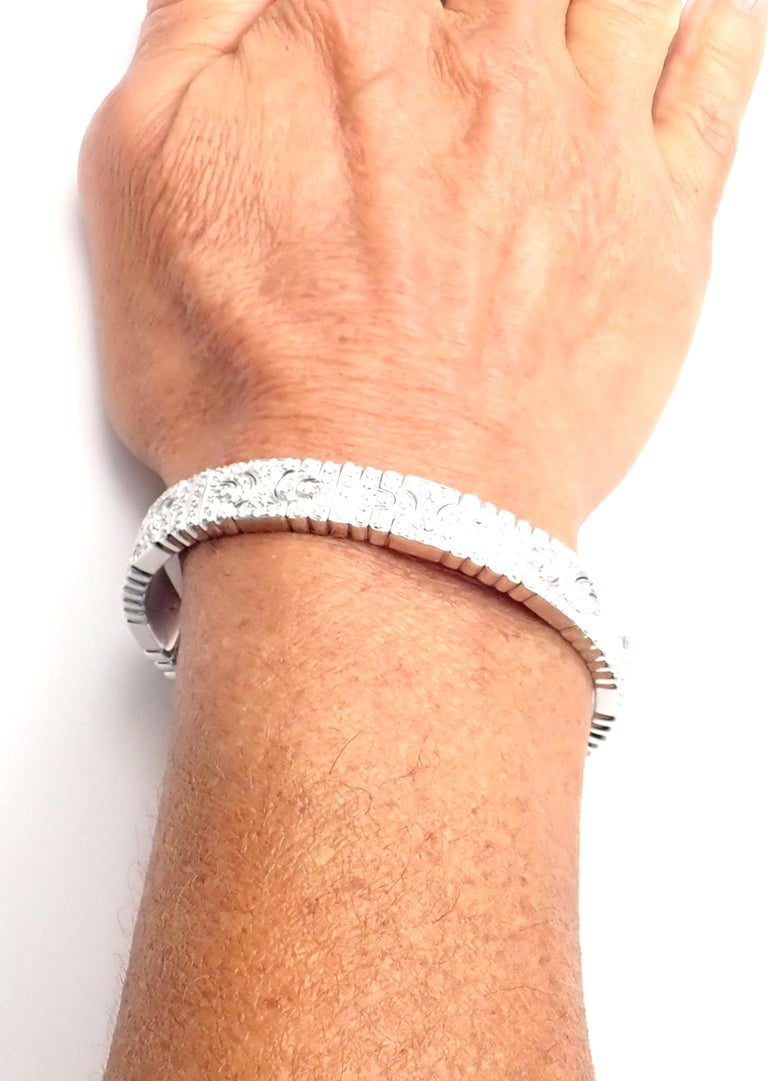 Bulgari Parentesi Pave Diamond White Gold Bangle Bracelet For Sale 5