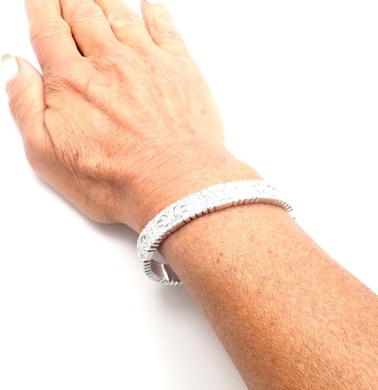 Bulgari Parentesi Pave Diamond White Gold Bangle Bracelet For Sale 6