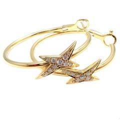 Mauboussin Diamond Celestial Star Etoile Yellow Gold Hoop Earrings