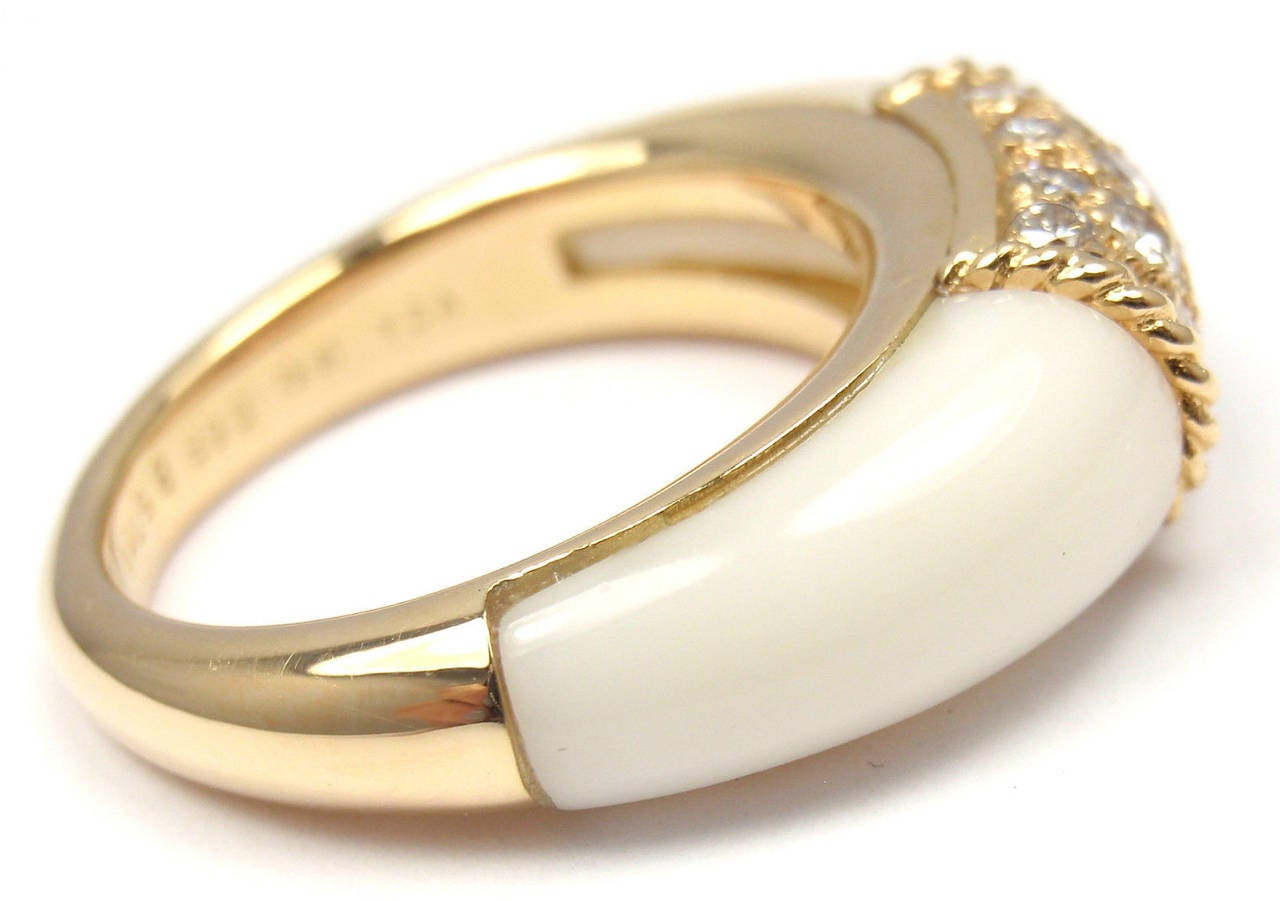 cleef and arpels white agate gold ring at 1stdibs