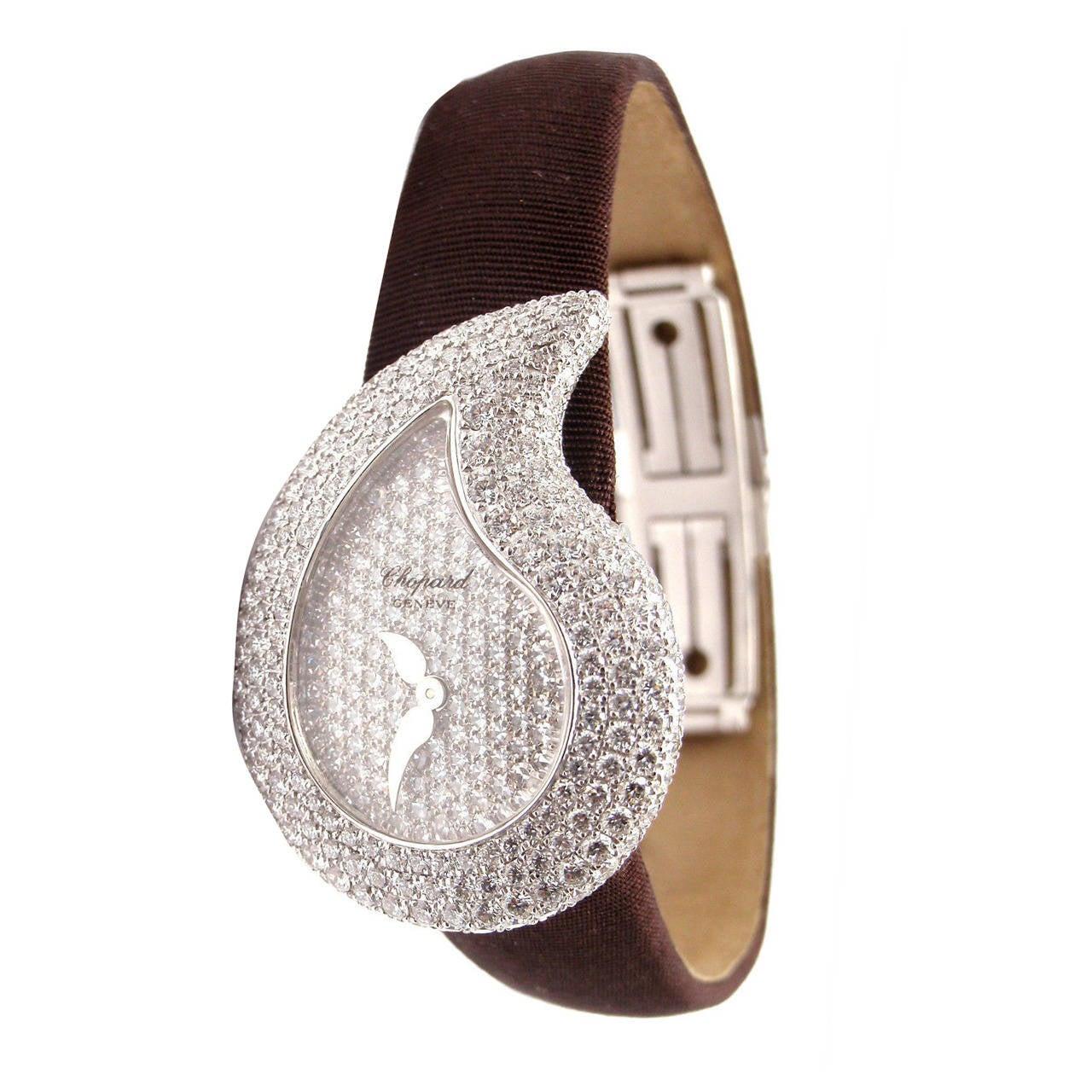 Chopard Lady's White Gold Diamond Pave Casmir Watch 1