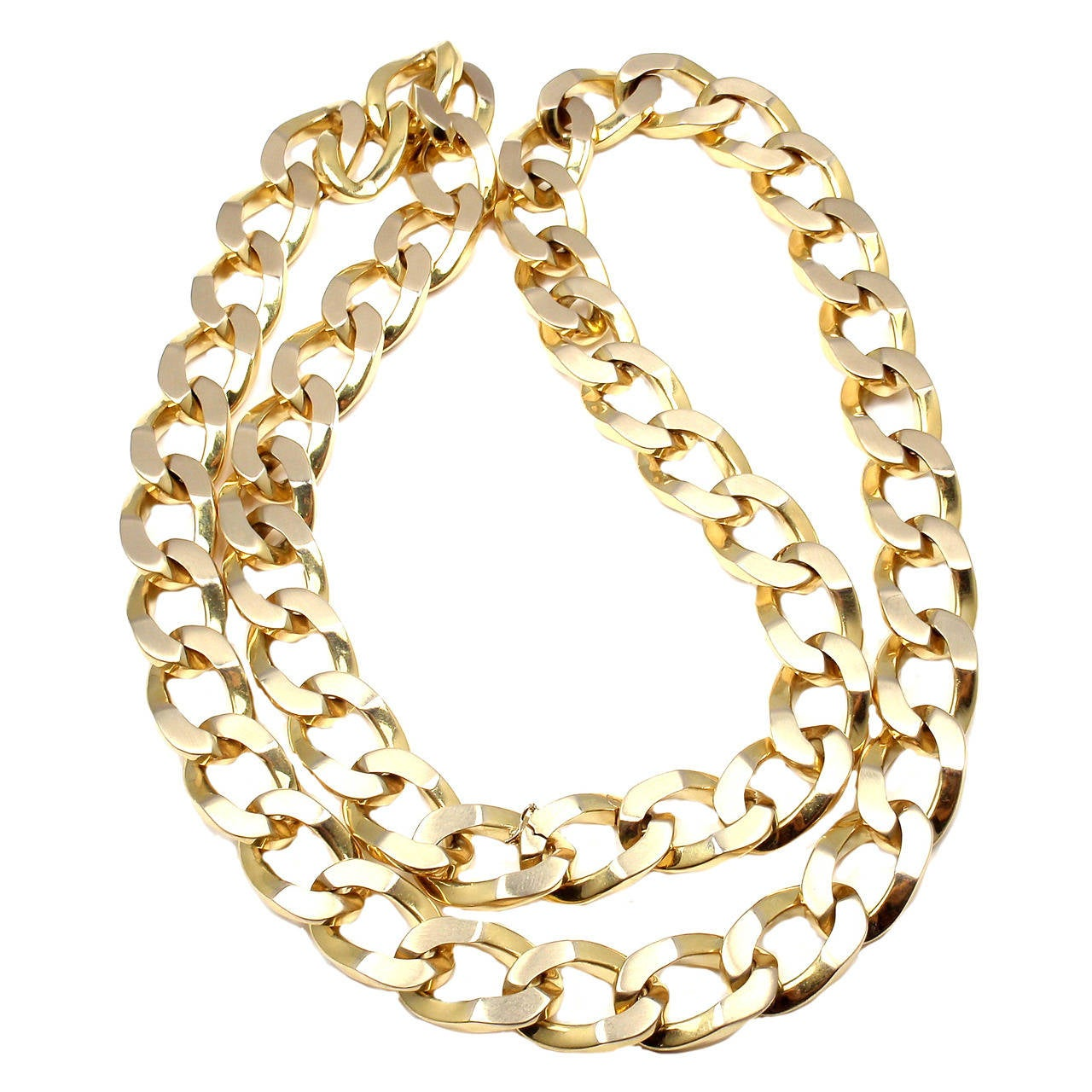 Bulgari Jumbo Curb Link Gold Chain Necklace For Sale