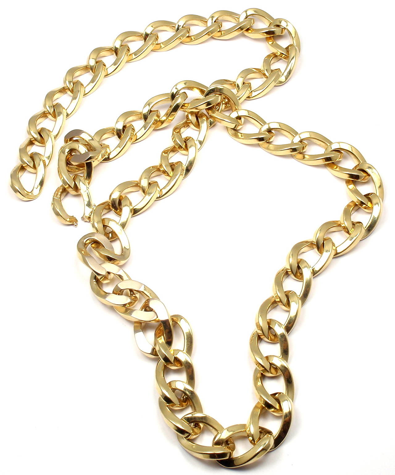 18k Yellow Gold Curb Link Chain Necklace by Bulgari.
