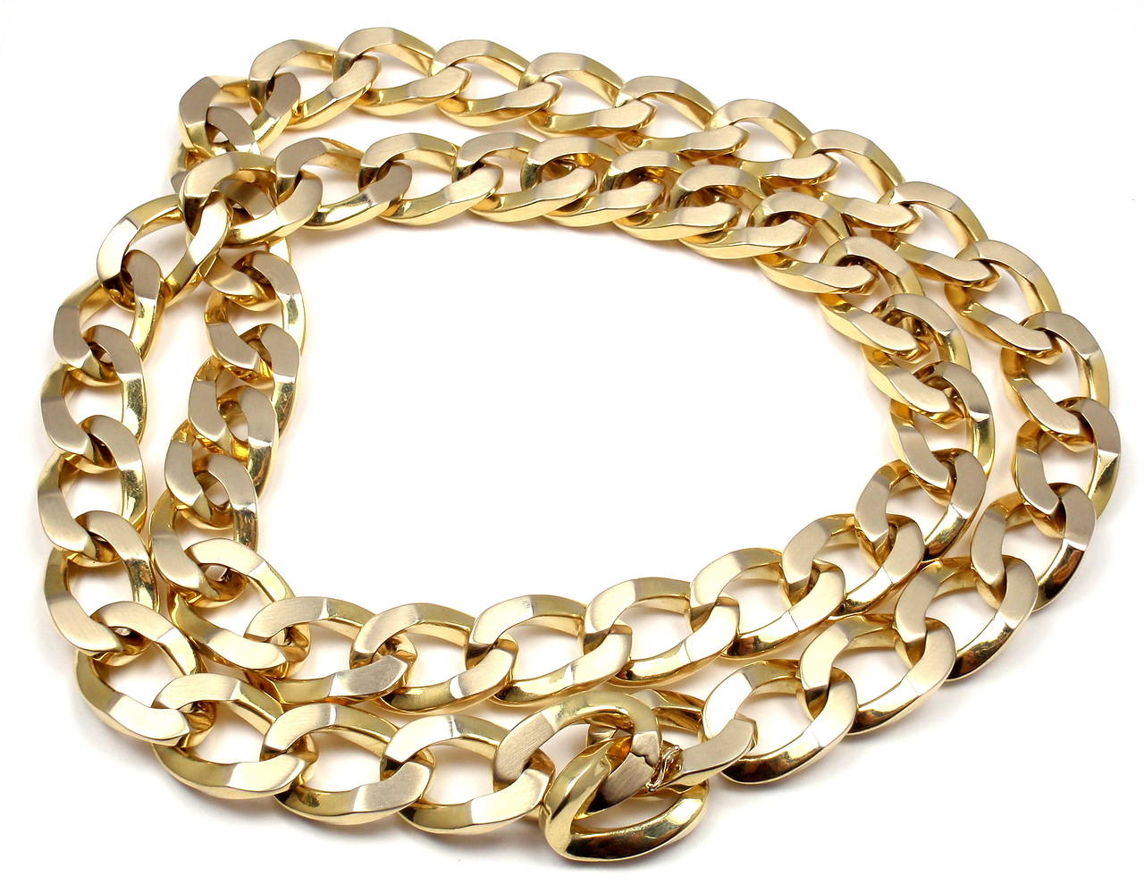 Bulgari Jumbo Curb Link Gold Chain Necklace For Sale 3