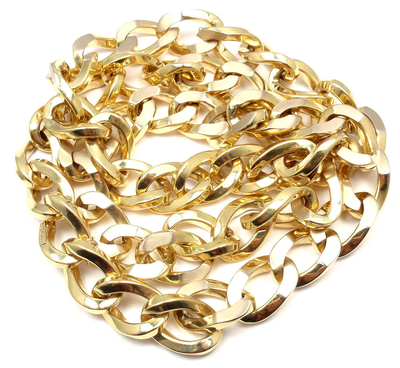 Bulgari Jumbo Curb Link Gold Chain Necklace For Sale 5