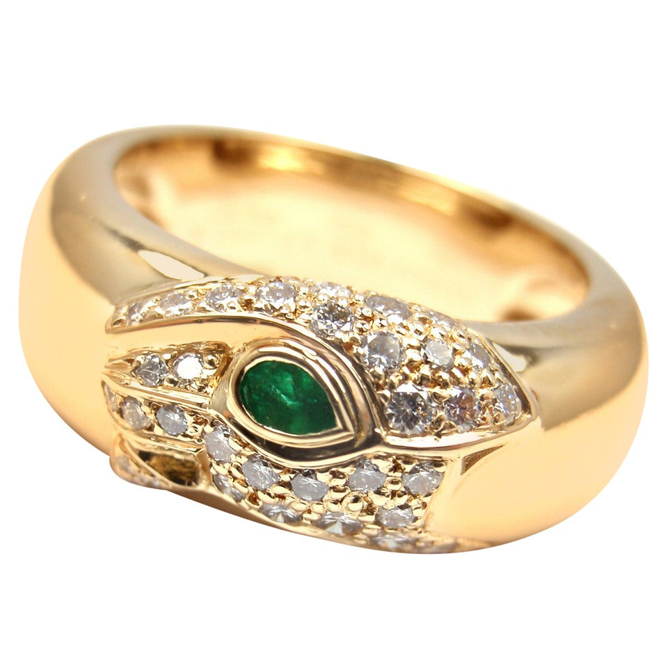 Cartier Panther Emerald Diamond Gold Band Ring