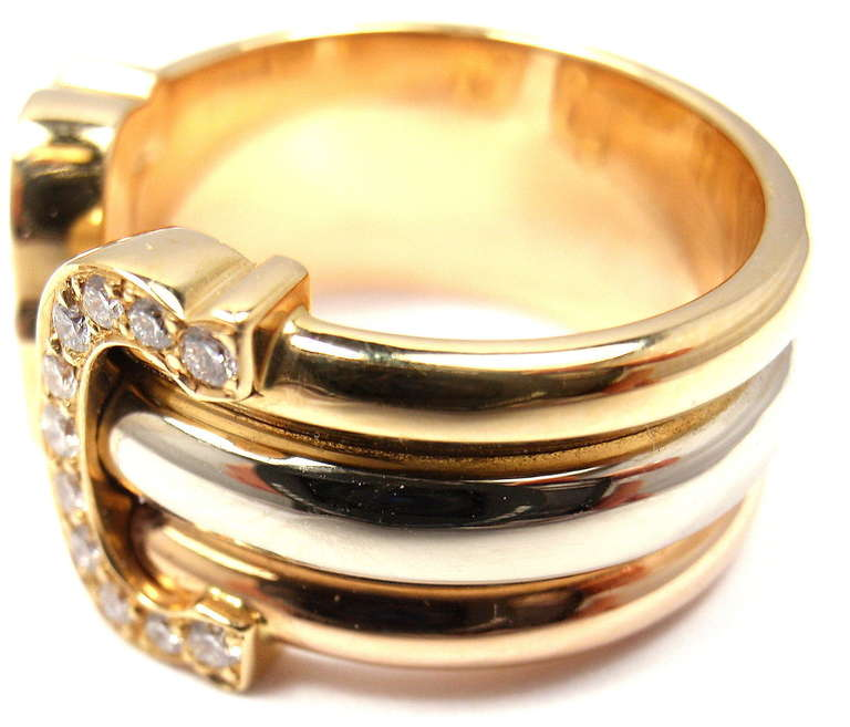 CARTIER Double C Diamond Tri Color Gold Band Ring at 1stdibs